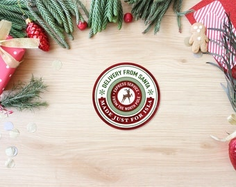 Official From Santa Stickers - Custom Christmas Gift Labels - Holiday Seals from the North Pole - Present Stickers