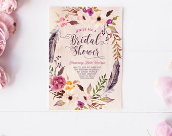 Floral Bridal Shower Invitation - Boho Feather Wedding Shower Invites - Printed or Printable Cards