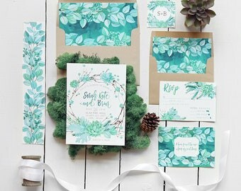 Succulent Wedding Invitation Set, Mint Green Botanical Wedding Invite, Watercolor Wedding Suite - Printable or Printed