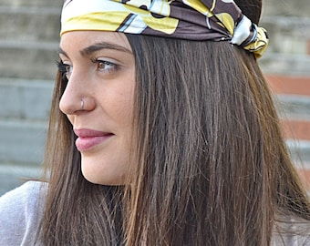 Yellow Headband, Floral Headband, Running Headband, Yoga Headband, Boho Headband, Workout Headband, Womens Turban, Womens Headband