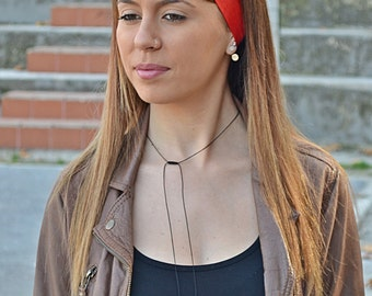 Red Head Scarf, Red Head Bow, Bow Headbands, Woman Top Knot, Linen Head Wrap, Pin Up Headband, Bow Headband, Unique Gift, Women Scarf, 50s