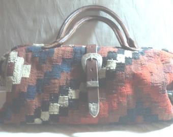 PURSE, ELEPHANT Walk, Kilim BaG COWBOY BaG, Carpet BaG, Satchel BaG, Doctor's Bag Style, Silver Trim, Southwest Carpet BaG, Woven Wool Kilim