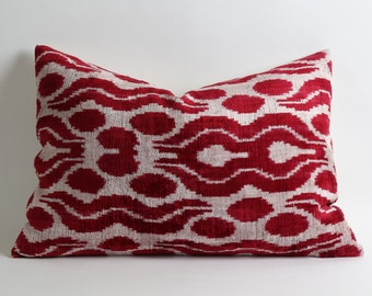 Red Ikat Pillow Cover - Velvet Ikat Lumbar Pillow Decorative Pillows Red White Pillow Sofa Pillows Designer Throw Pillow Living Room Decor