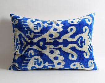 """Handmade Blue Pillow Covers, 16""""x22"""" Velvet Pillow Covers, Blue white pillows Luxury Bohemian home decor"""