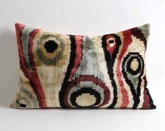 Uzbek handwoven ethnic ikat velvet pillow cover // 15x23 ikat designer pillows decorative lumbar luxury pillows
