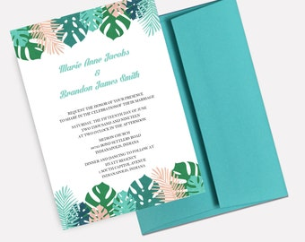 Tropical Leaves Wedding Invitations, Beach Wedding Collection, Destination Wedding, Tropical Wedding Stationery - BUILD YOUR OWN