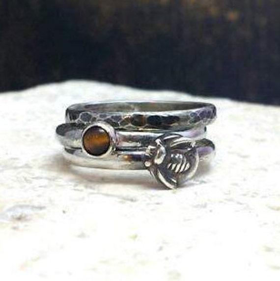 Stacking rings, sterling silver stacking rings, bee ring, tiger eye ring