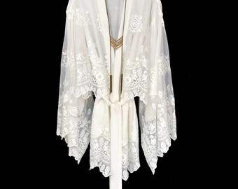Off white cotton embroidered Lace Kimono jacket, lined robe, short length