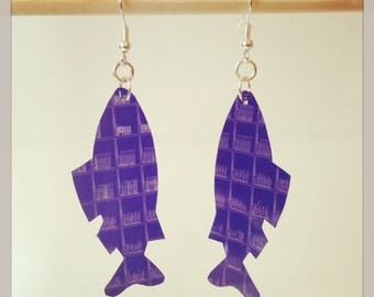 Upcycled Microfiche 'Microfish' Earrings