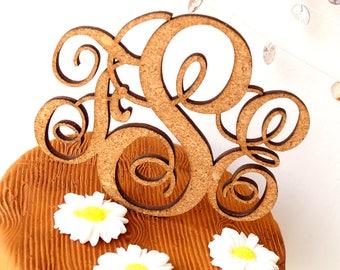 Monogram cake topper, wedding cake topper, personalized cake topper, cork cake topper, rustic cake topper, custom made initials cake decor