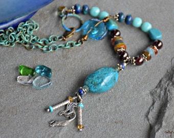 turquoise, kokopelli, boho style, mixed media art you can wear, glass art necklace