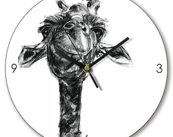 Giraffe Clock, Giraffe Wall Clock, Wooden Clock, Giraffe Timepiece, Giraffe Wooden Clock Gift by Bex Williams
