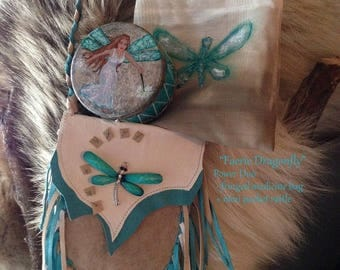 Fae Dragonfly - Power Duo - Power Animal - Deer Rawhide Mini Shaman's Rattle w/ Matching Fringed Medicine Pouch