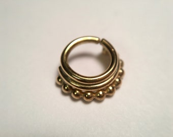 Gold Stacked Septum Ring