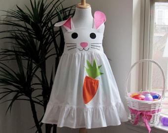 Girl's Easter Bunny/Rabbit Dress.  Easter Dress for Kid Sizes 1-8