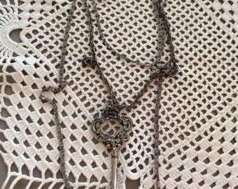 Vintage 1970s Necklace 3 Strand Chains Faux Skeleton Key Pendant Antiqued Pewter Color Unsigned