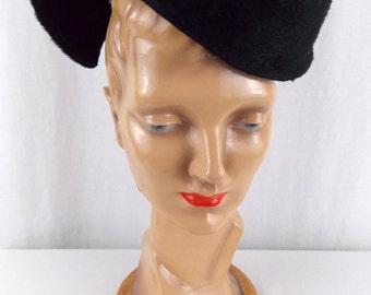 VTG Don Marshall Black Fascinator Hat with Unusual Sculptured Shape