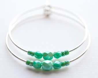 grass moon / spring green pastel mint and silver hoop earrings