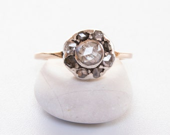 Antique Georgian rose cut diamond engagement ring  / 585 gold and rose cut diamond antique engagement ring / Georgian rose cut diamond ring