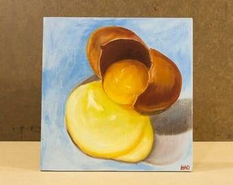 Egg Still Life Painting, Breakfast, Kitchen Art