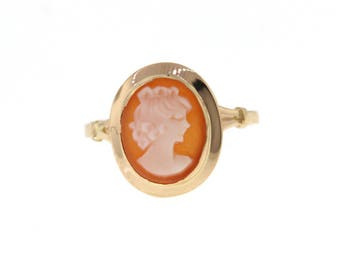 Vintage Cameo Ring, Delicate Yellow Gold Shell Cameo Ring, Antique Cameo Ring