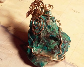 LARGE   3 inches long Natural Chrysocolla in Turquoise Rough Cut Gemstone Gold  Wire Wrapped Pendant