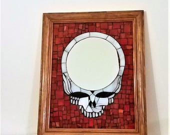 Grateful Dead Art Stealie Mosaic Mirror, 11x14 Inch Framed Mosaic Glass Picture, Hippie Room Decor, Hippie Wall Art, Deadhead Gift Idea