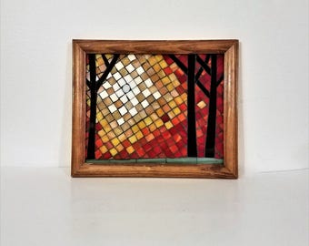 mosaic leaves falling stained glass picture 6x18 inch repurposed wooden frame comes ready to hang nature glass art