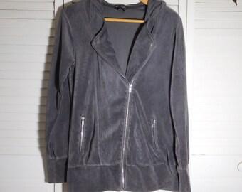 Grey Velour Hoodie Sweatshirt Vintage 90s  Zipper Pockets Track Clothes Dark Grey Size Medium Sportswear
