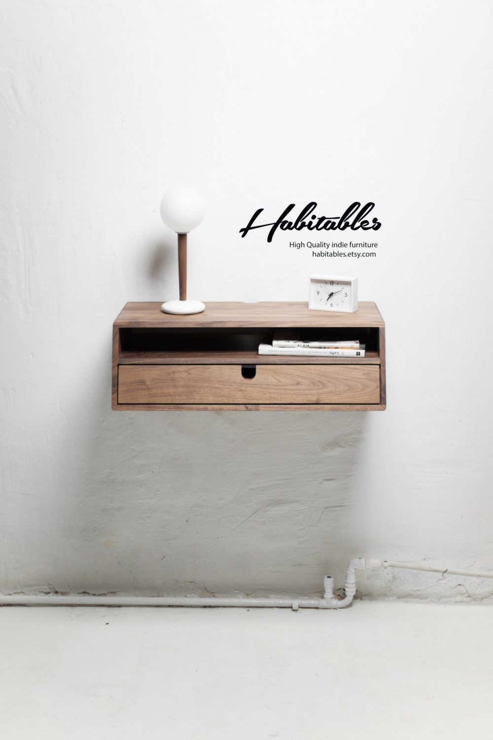 Indie Furniture Hallway Table Entryway Floating Console In Solid Walnut Oak Wood