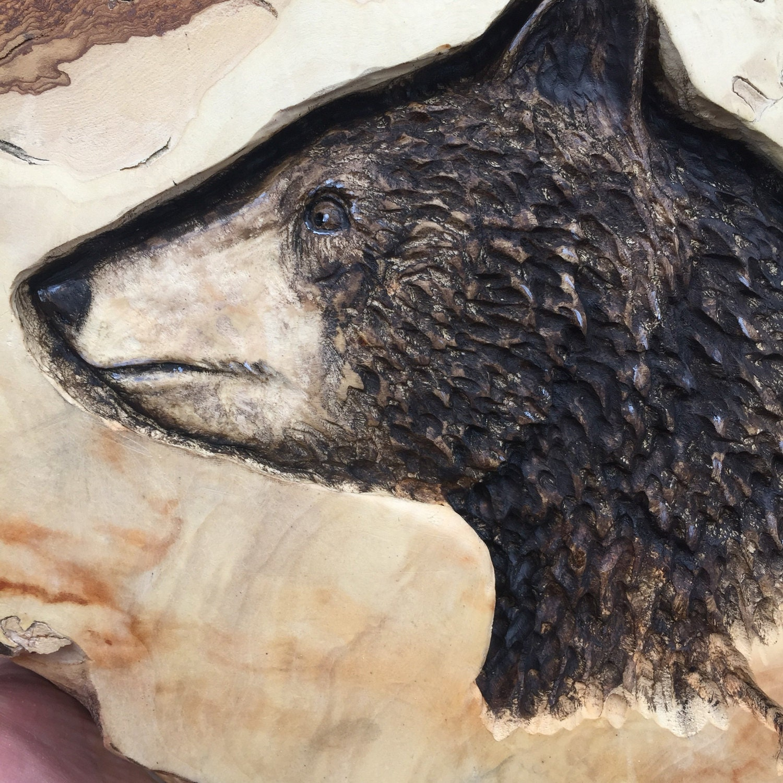 bear wood carving wood sculpture hand carved wood art log home