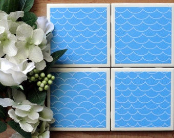 Coasters - Drink Coasters - Tile Coasters - Ceramic Coasters - Ceramic Tile Coasters - Coaster Set - Table Coasters - Water Wave Coasters