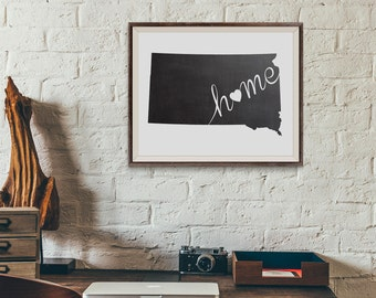 South Dakota Wall Art, Chalkboard Home Poster, State of South Dakota Poster, Chalkboard Wall Hanging, State Map, Printable Wall Art Poster