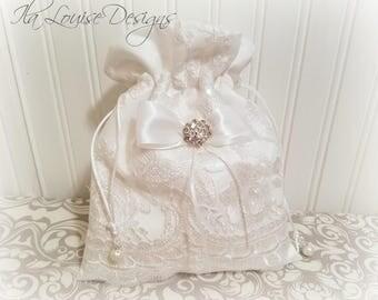 White Dollar Dance Bag, Wedding Money Bag, Bridal Bag, Bridal Purse, Dollar Dance Bag, Wedding Money Purse