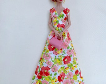 Floral maxi dress for Poppy Parker and similar size dolls