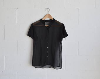 90s Sheer Black Buttonup T-Shirt · Black Sheer Shirt · 1990s Sheer Black Blouse · Black 90s Blouse · Sheer Blouse · 90s Buttonup Tshirt · M