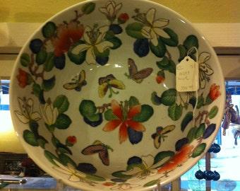 Large Bowl, Oriental Design, Colorful Porcelain