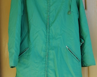 Ljungberg size 10 womens fur hood coat jacket green genuine fur Iselin imports Made in Norway Nylon belted