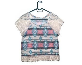 Boho Crochet Lace Top Womens T-Shirt Medium M