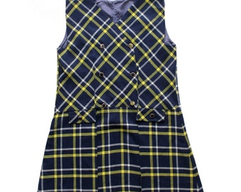 FRENCH VINTAGE 60's / kids / pleated dress / navy blue and yellow wooly plaid fabric  / new old stock / size 8 years