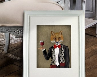 Fox Bow Tie Wine Art Print Poster Dining Room Decor Best Man