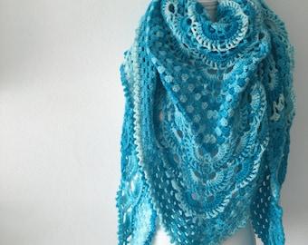 Crochet shawl aqua ombre