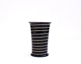 Vintage Babbacombe Spiral Barrett Priddoe black yellow Torquay Hand thrown Small Vase