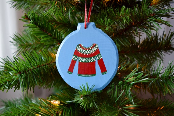 Christmas Sweater Wooden Ornament, Hand-Painted / Red, White, and Green / Christmas Ornament / Ugly Christmas Sweater