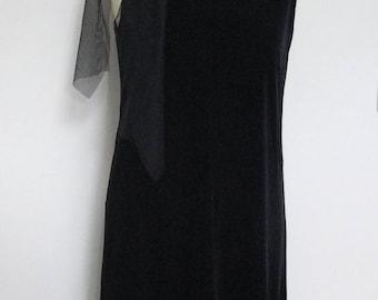 Black Velvet Dress, Evening Wedding Black Velvet Pencil Dress, New Years Eve Party Dress, Shift Dress, Valentines Gift, Sleeveless -Size M