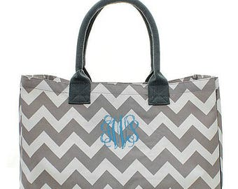Personalized Chevron Beach Bag Monogrammed Tote Gray Oversized Canvas Large Market Diaper Baby Shopping Embroidered Monogram