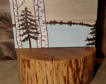 Peaceful Pine and Birch - Wood Burning