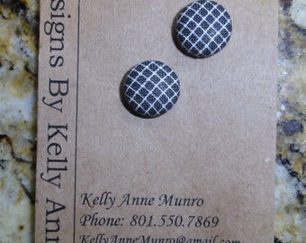 Earrings Button-  Black and White Grid- Small 1/2 Inch