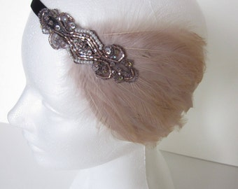 Rose Gold bridal accessories, rose gold wedding headband, bronze great gatsby headpiece, beige feather fascinator 1920s flapper fascinator