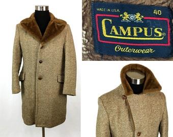 Vintage 60s Herringbone Tweed Coat by Campus Size 40 Medium // 1960s // Outerwear // Jacket // Faux Fur // USA Made // Men's // Long Coat